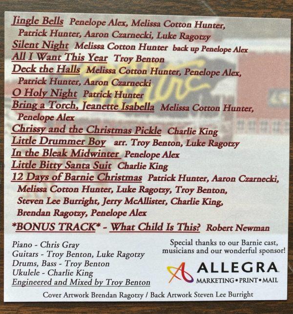 BARN Holiday CD Song LIst