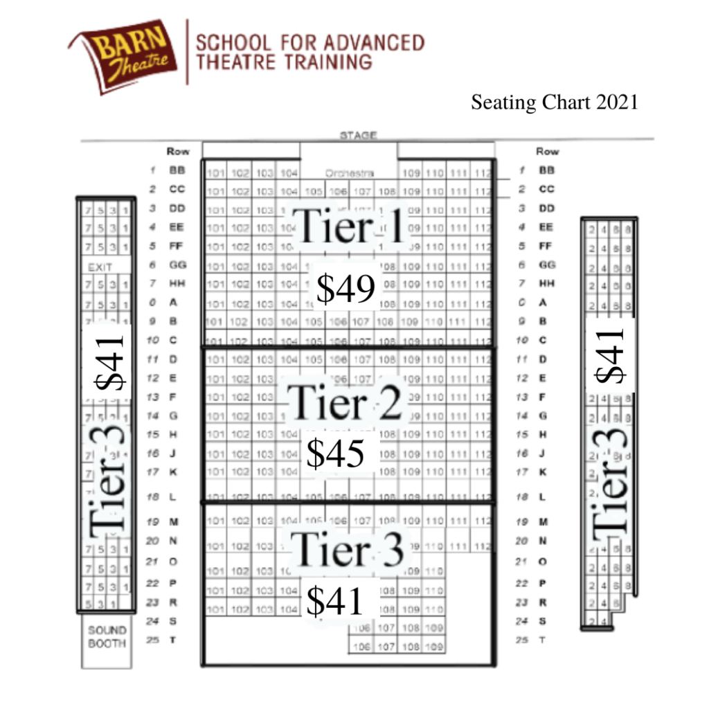 Barn Theatre 2021 Seating Chart Ticket Prices