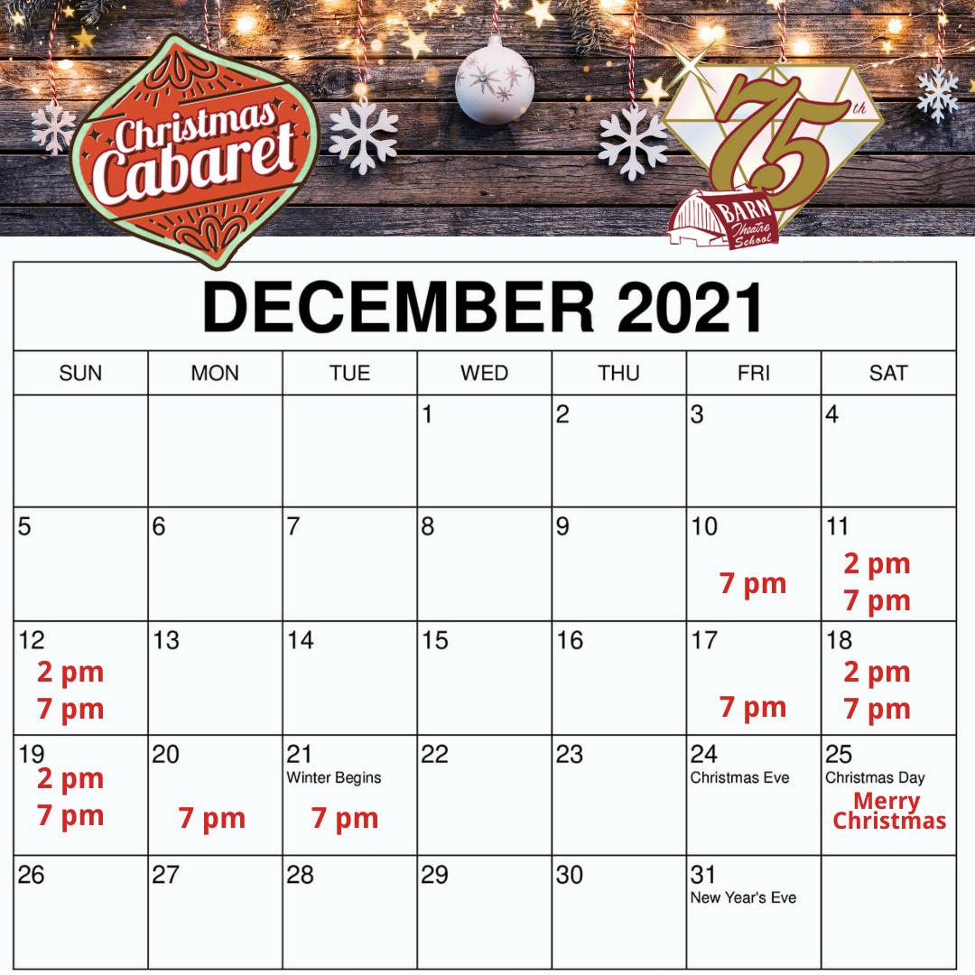 Barn Christmas Cabaret Calendar View 2021